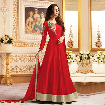 Elegant Red Colored Designer Embroidered C-N Banglori Silk Anarkali Suit