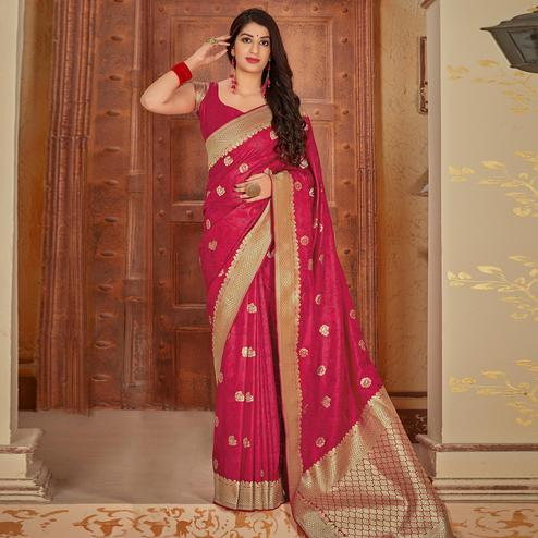 Delightful Pink Colored Festive Wear Woven Banarasi Silk Saree
