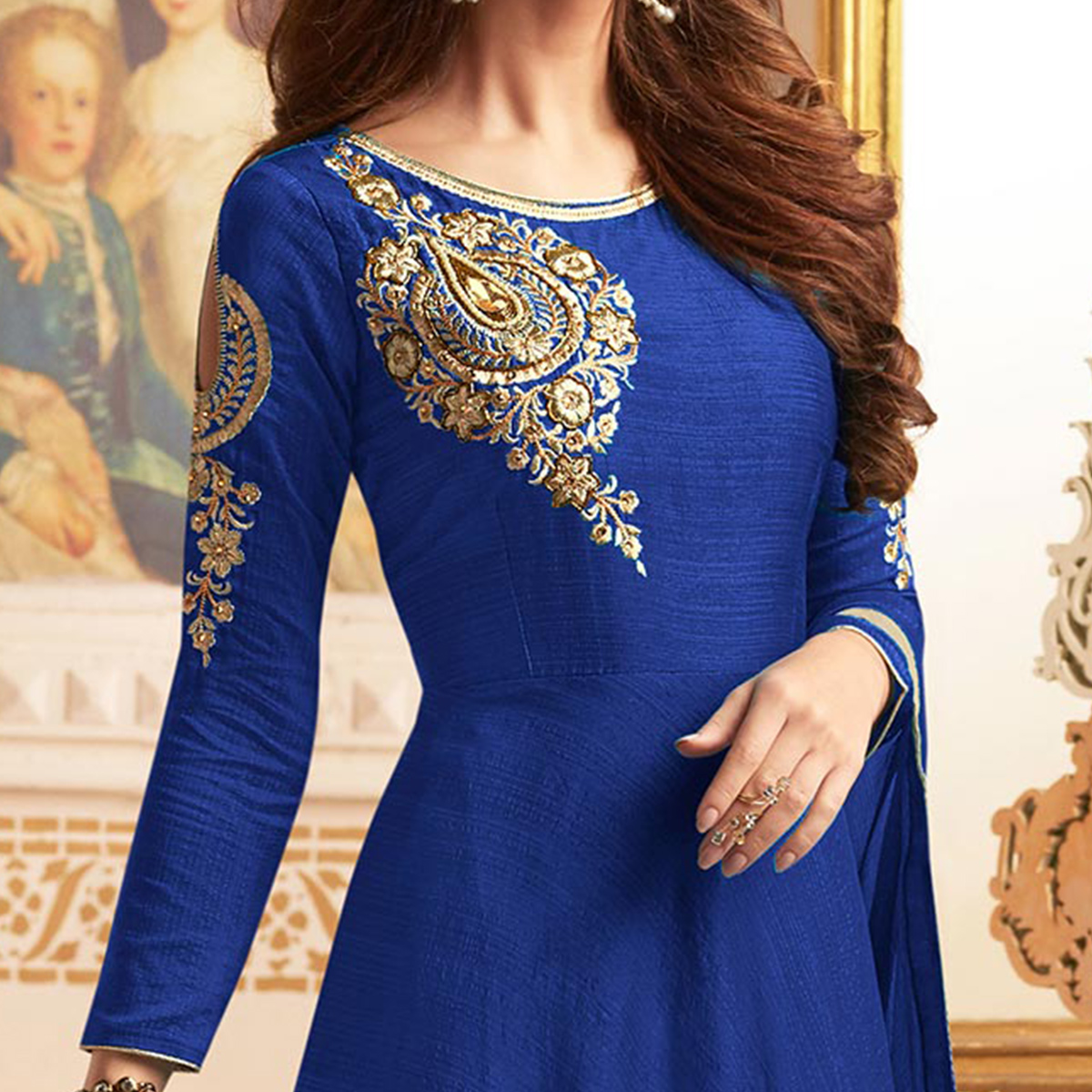 Dazzling Blue Colored Designer Embroidered C-N Banglori Silk Anarkali Suit