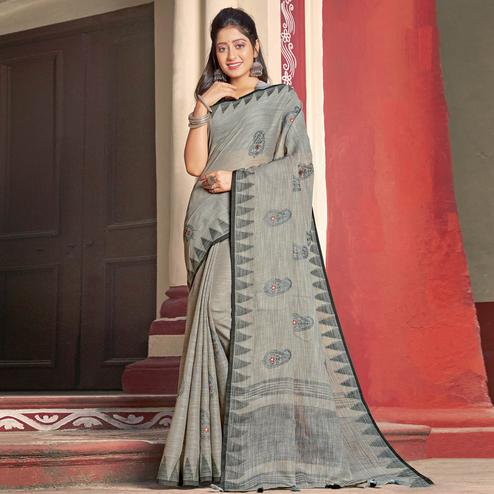 Opulent Grey Colored Casual Wear Printed Linen Cotton Saree