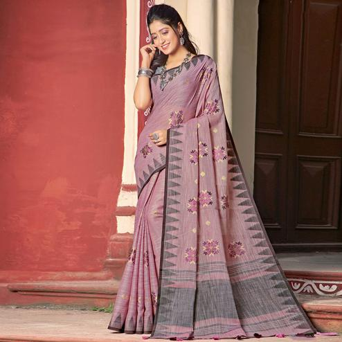 Energetic Pink Colored Casual Wear Printed Linen Cotton Saree