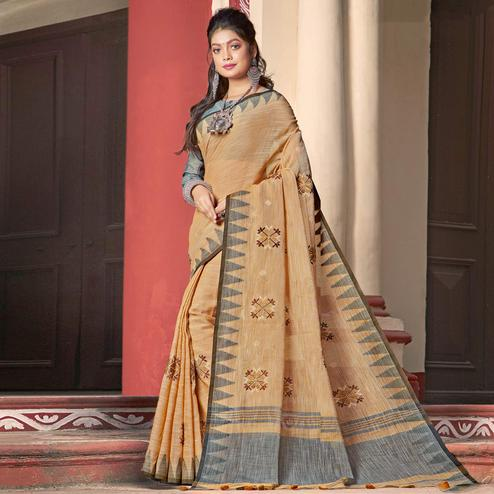 Glowing Mustard Yellow Colored Casual Wear Printed Linen Cotton Saree