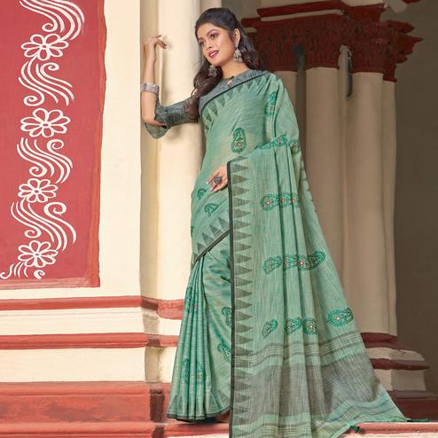 Exceptional Green Colored Casual Wear Printed Linen Cotton Saree