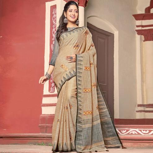 Gleaming Beige Colored Casual Wear Printed Linen Cotton Saree