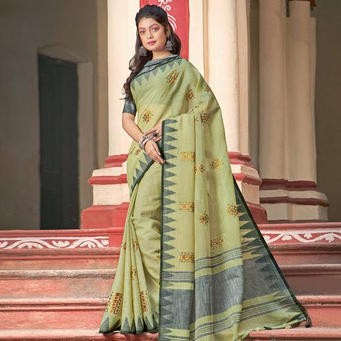 Mesmeric Olive Green Colored Casual Wear Printed Linen Cotton Saree