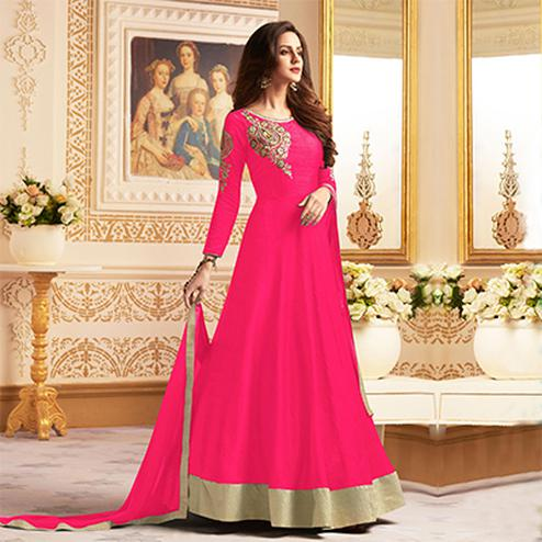 Gorgeous Pink Colored Designer Embroidered C-N Banglori Silk Anarkali Suit