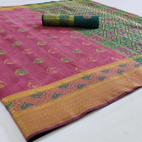 Energetic Pink Colored Festive Wear Woven Cotton Saree
