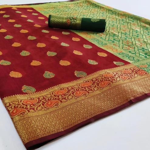Glowing Maroon Colored Festive Wear Woven Cotton Saree