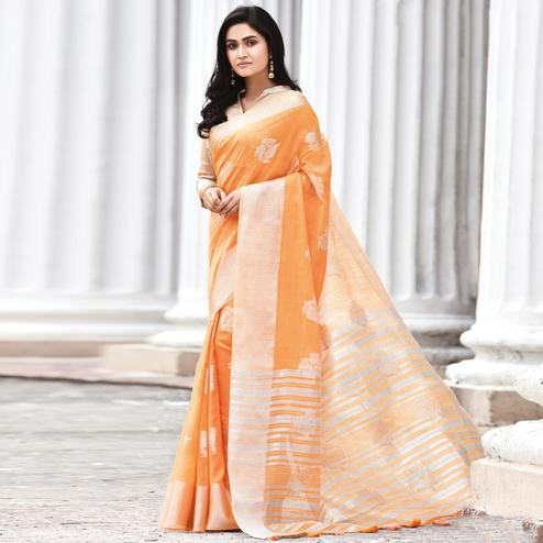 Eye-catching Orange Colored Casual Wear Printed Linen Cotton Saree