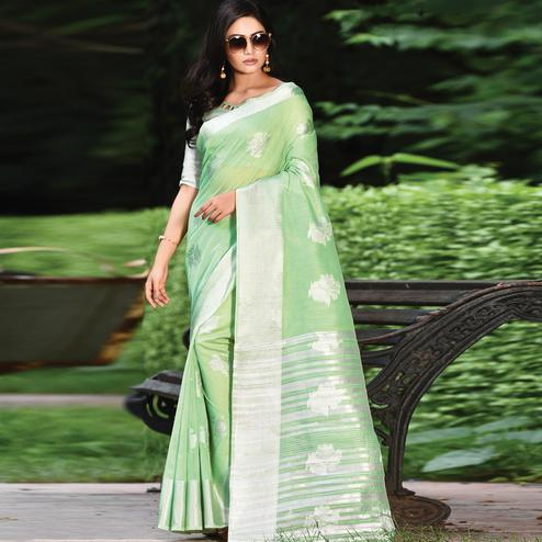Fantastic Green Colored Casual Wear Printed Linen Cotton Saree