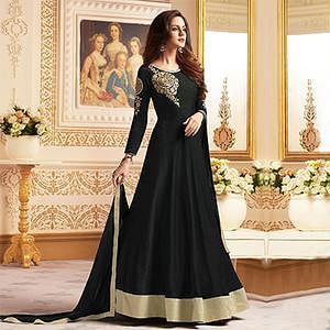 Sizzling Black Colored Designer Embroidered C-N Banglori Silk Anarkali Suit