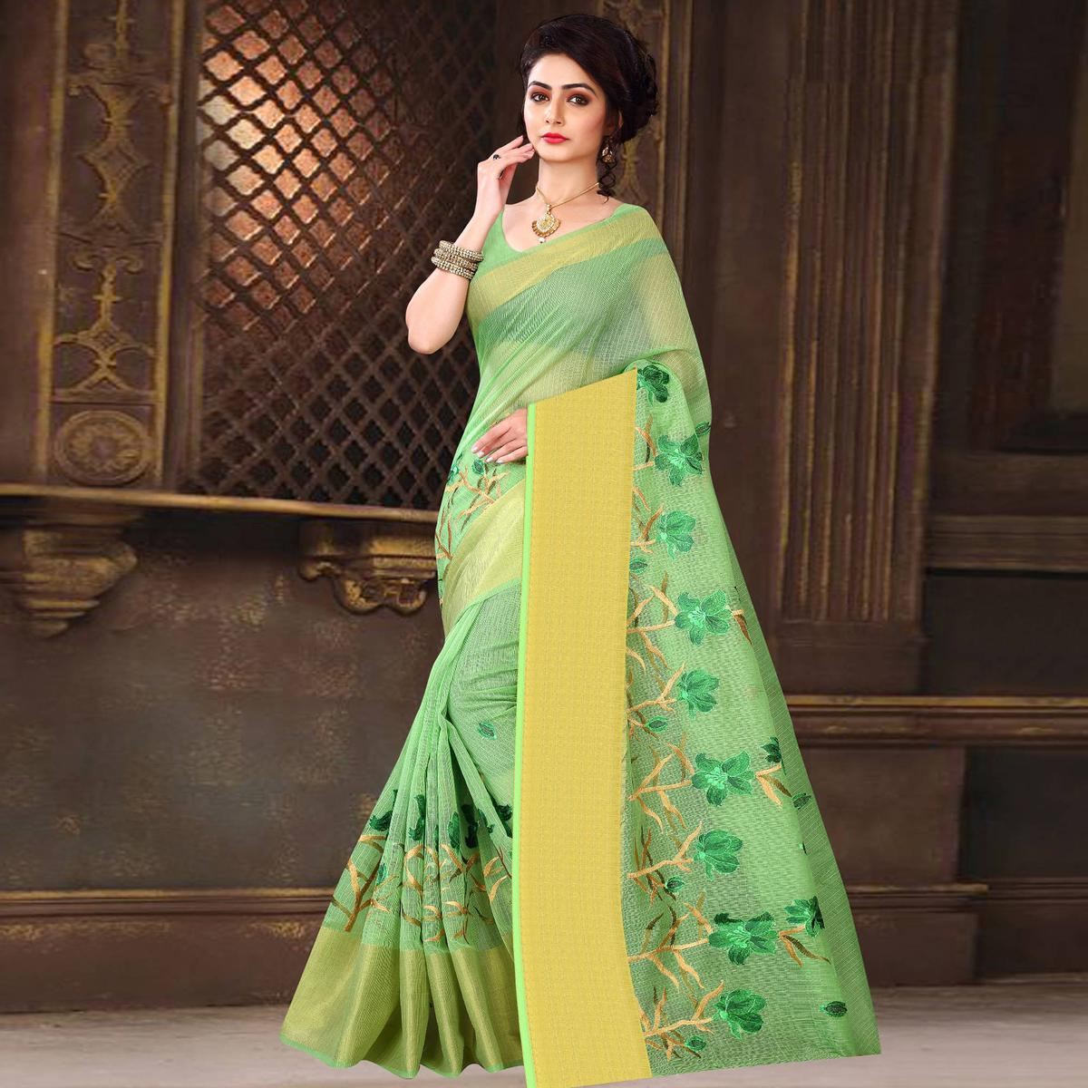 Gorgeous Parrot Green Colored Casual Wear Printed Net Saree