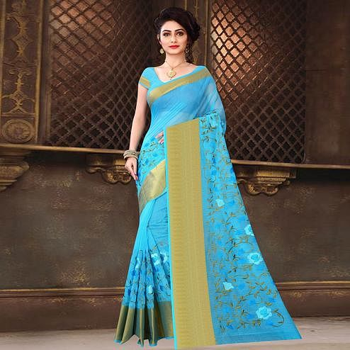 Blissful Blue Colored Casual Wear Printed Net Saree