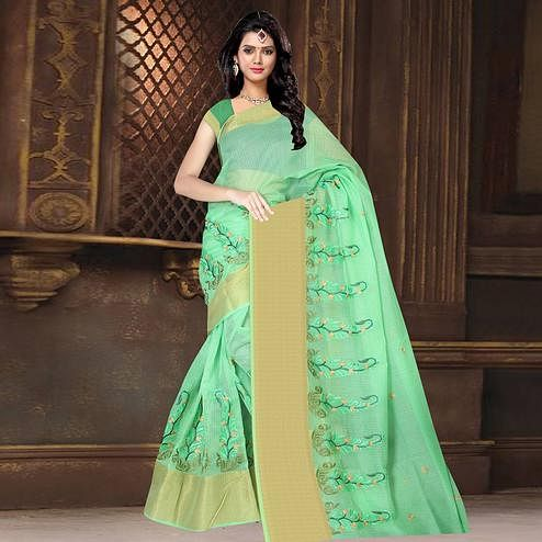 Ideal Green Colored Casual Wear Printed Net Saree