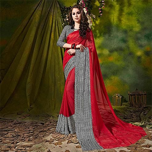 Red Designer Printed Georgette Saree
