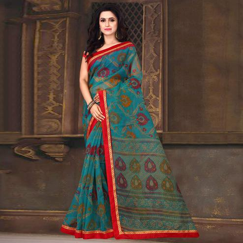Ethnic Blue Colored Casual Wear Printed Silk Kota Saree