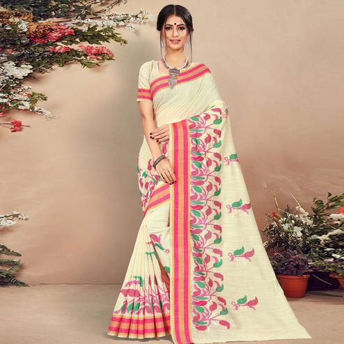 Intricate Cream Colored Casual Wear Floral Printed Cotton Saree