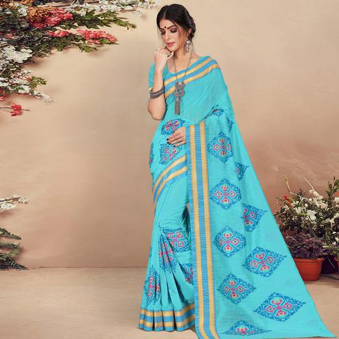 Arresting Blue Colored Casual Wear Floral Printed Cotton Saree