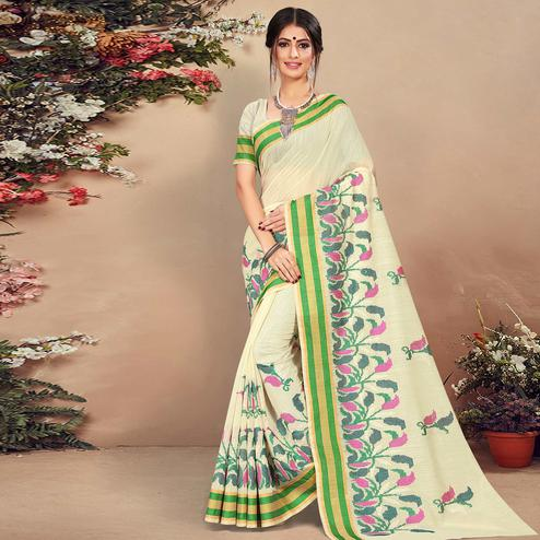 Sophisticated Cream Colored Casual Wear Floral Printed Cotton Saree