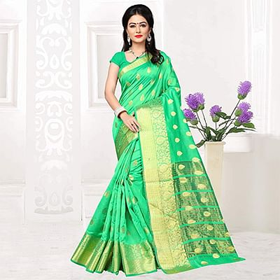 Green Weaving Work Silk Saree