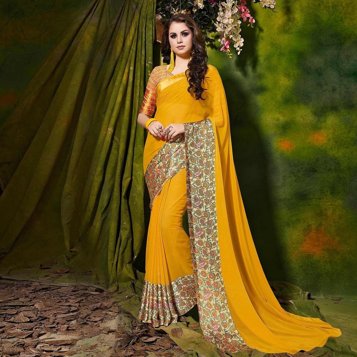 Yellow Designer Printed Georgette Saree