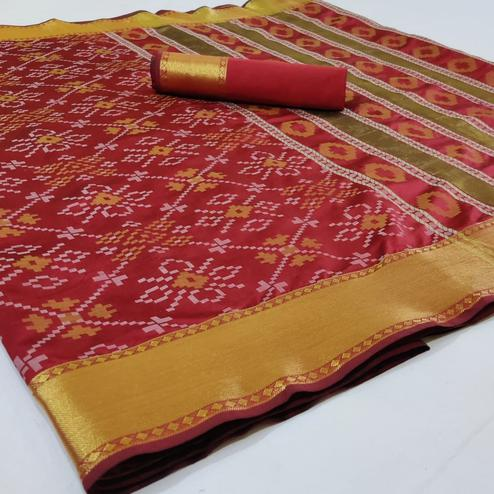 Flaunt Red Colored Festive Wear Woven Silk Saree