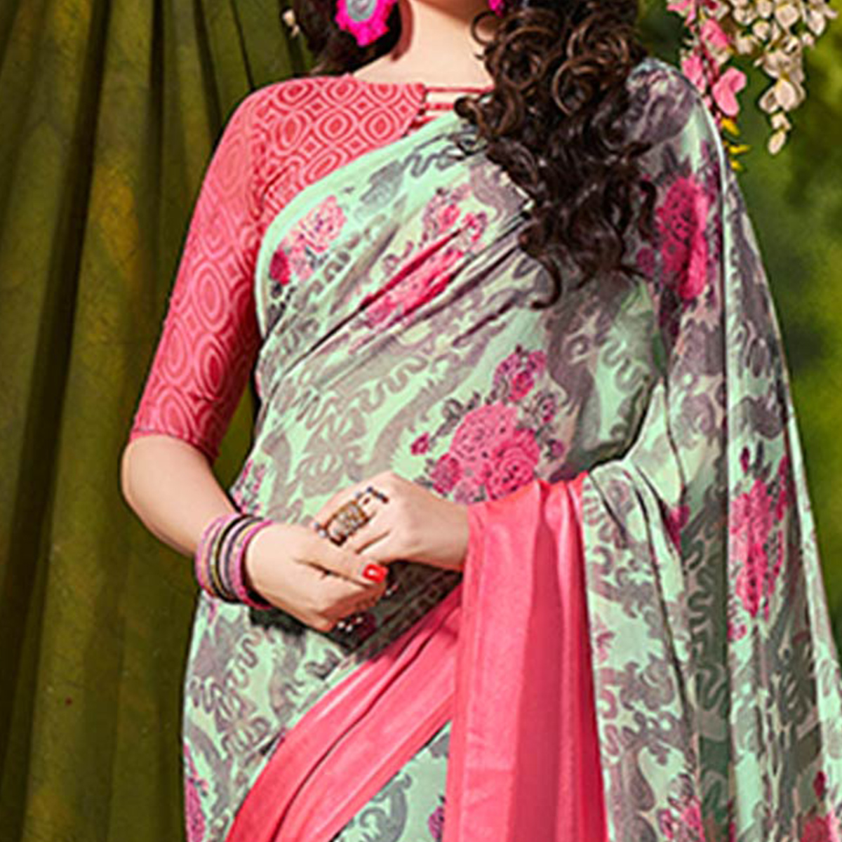 Green Designer Printed Georgette Saree