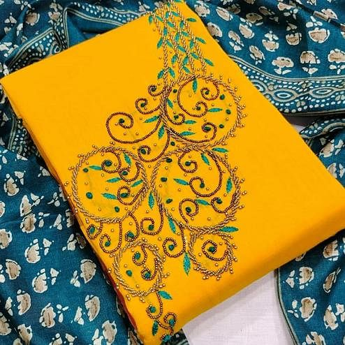 Classy Yellow Colored Partywear Embroidered Modal Chanderi Dress Material