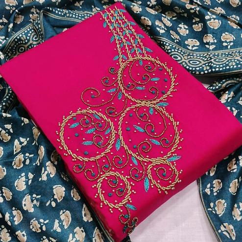 Appealing Rani Pink Colored Partywear Embroidered Modal Chanderi Dress Material