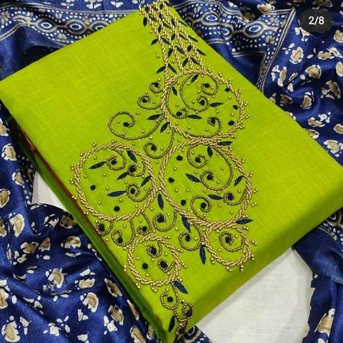 Entrancing Green Colored Partywear Embroidered Modal Chanderi Dress Material