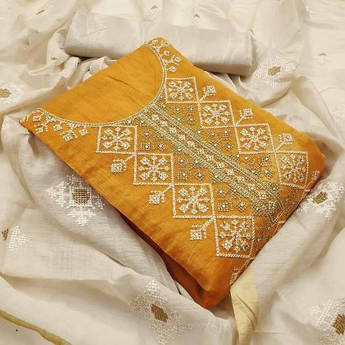 Groovy Yellow Colored Partywear Wear Emboidered Chanderi Modal Dress Material