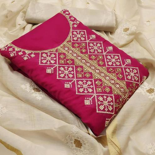 Adorning Rani Pink Colored Partywear Wear Emboidered Chanderi Modal Dress Material