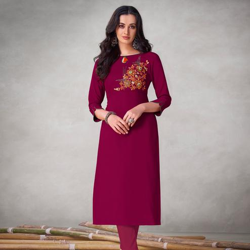 Amazing Dark Pink Colored Partywear Embroidered Viscose Kurti