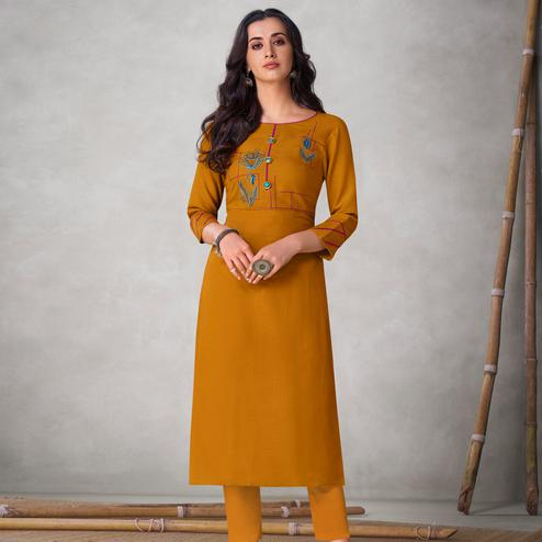 Gorgeous Mustard Yellow Colored Partywear Embroidered Viscose Kurti