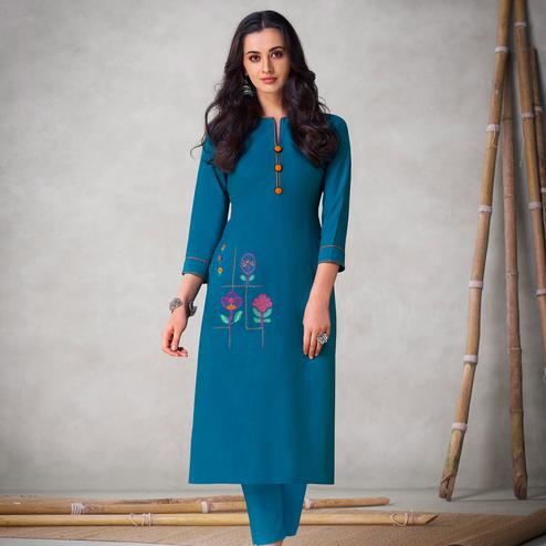 Blissful Blue Colored Partywear Embroidered Viscose Kurti