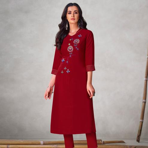 Ideal Maroon Colored Partywear Embroidered Viscose Kurti