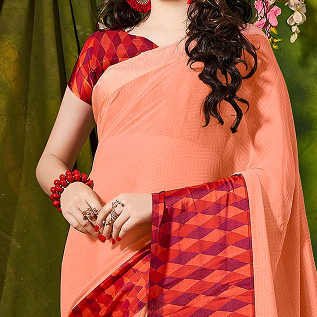Peach Designer Printed Georgette Saree