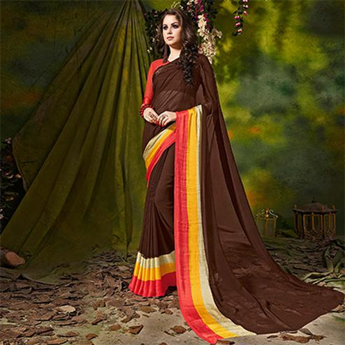 Brown Designer Printed Georgette Saree