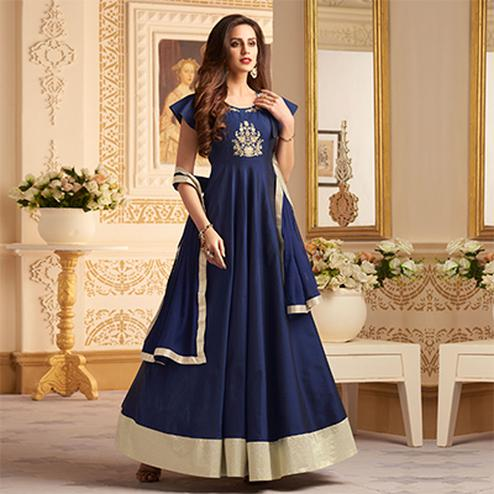 Attractive Navy Blue Colored Designer Embroidered C-N Banglori Silk Anarkali Suit
