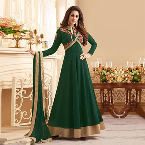 Dazzling Green Colored Designer Embroidered C-N Banglori Silk Abaya Style Anarkali Suit