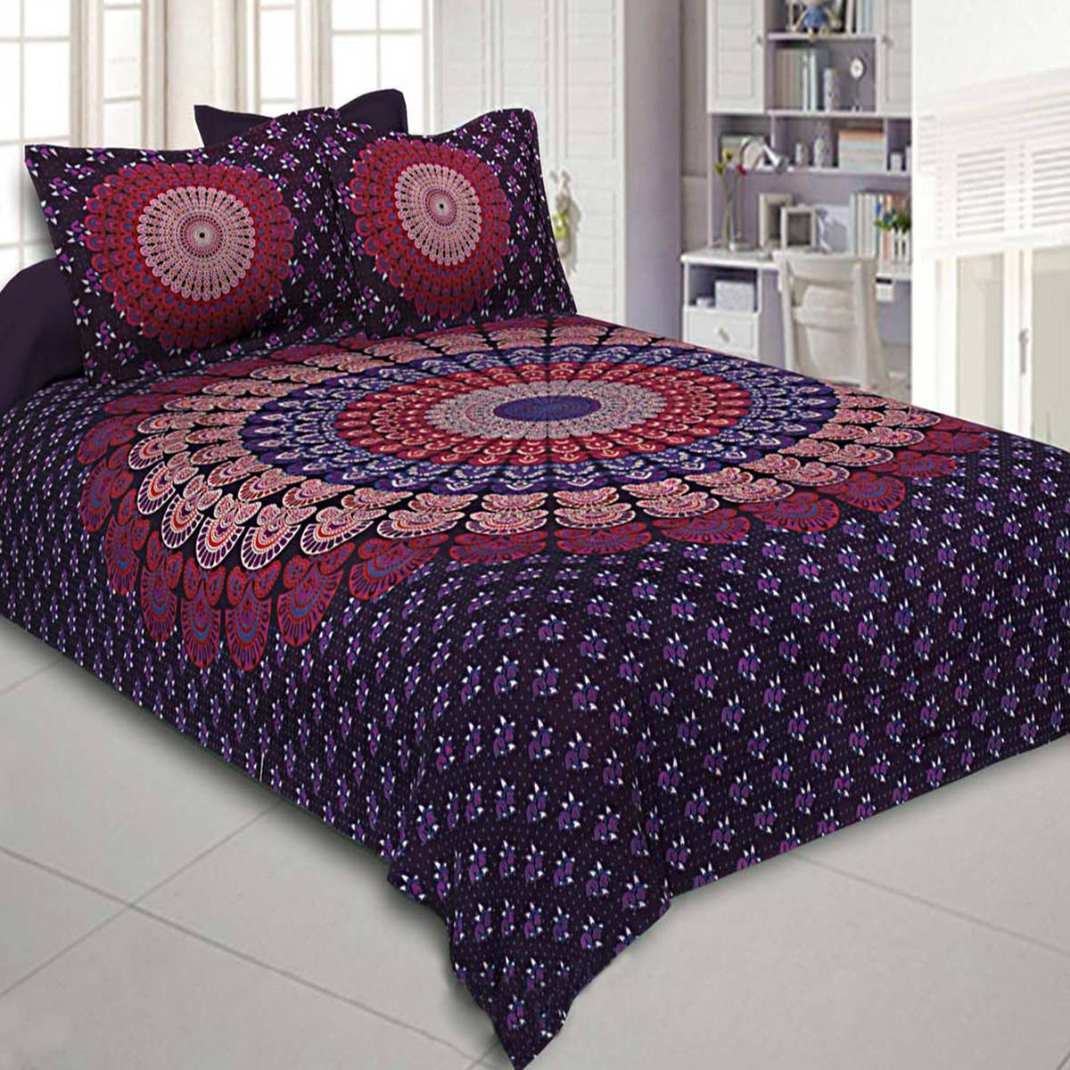 Blissful Dark Purple Colored Mandala Pure Cotton Double Bedsheet Tapestry With 2 Pillow Covers