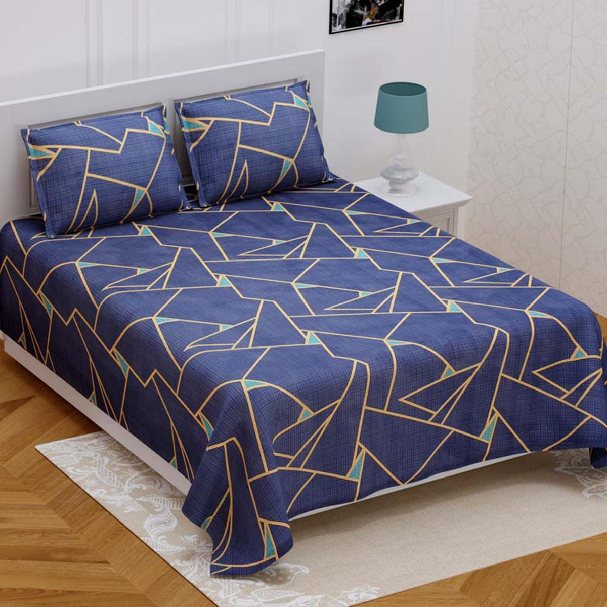 Majesty Blue Colored Poly Cotton Double Bedsheet