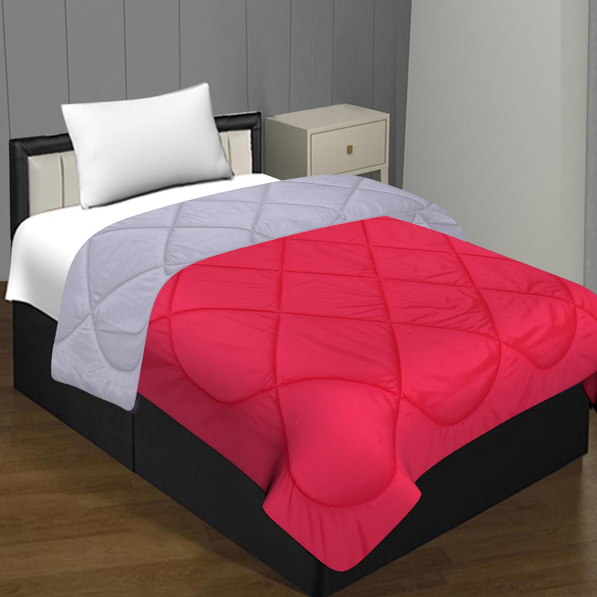 Magnetic Dark Pink - White Colored Solid Poly Cotton Single Bed Comforter