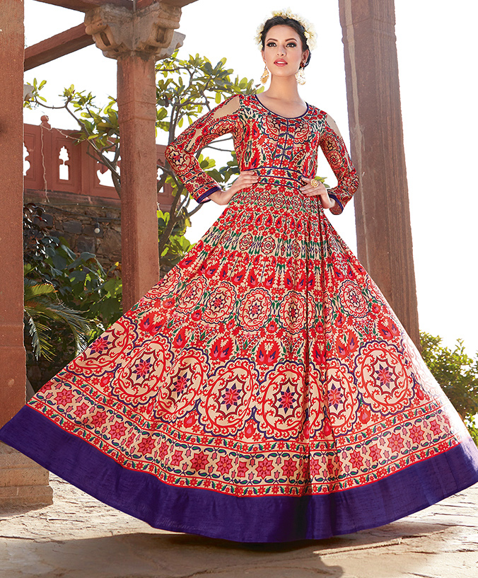 Graceful Red Printed Designer Japan Satin Anarkali