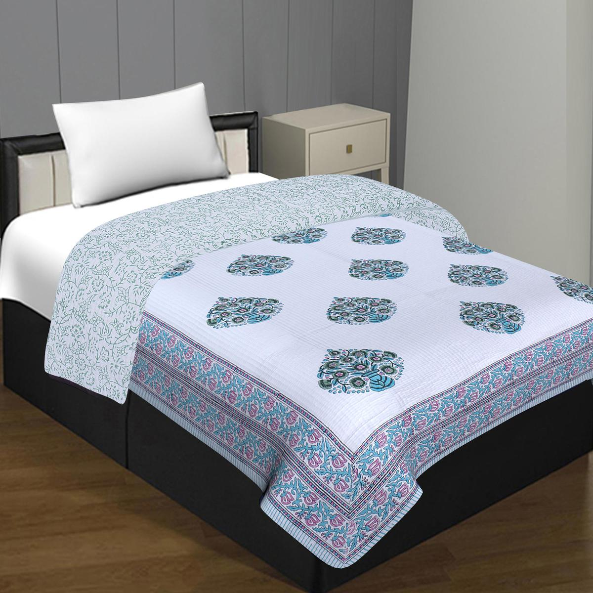 Stunning White Colored Printed Poly Cotton Single Bed Comforter