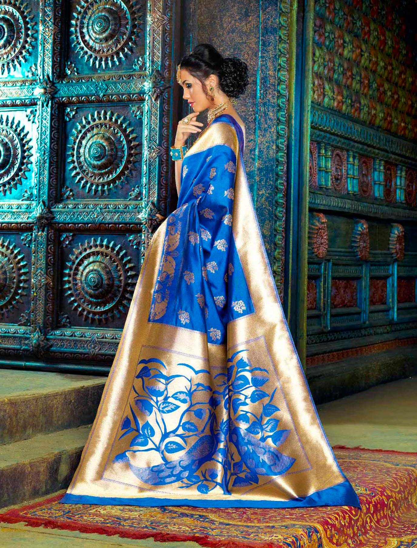 Royal Blue Party Wear Weaving Work Saree