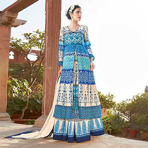 Ravishing Blue Designer Japan Satin Lehenga Kameez