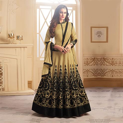 Elegant Beige Colored Designer Embroidered C-N Banglori Silk Anarkali Suit