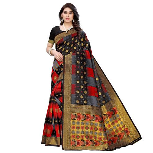 Gleaming Black - Red Colored Festive Wear Woven Jacquard Saree