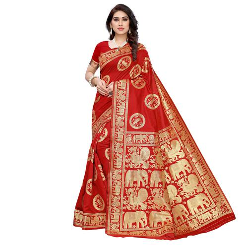 Mesmeric Red Colored Festive Wear Woven Jacquard Saree